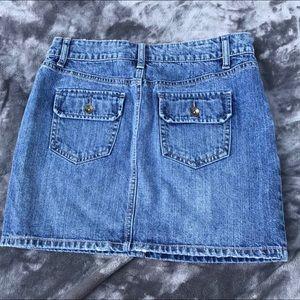 Distressed Jean Skirt Medium Wash Button Pockets